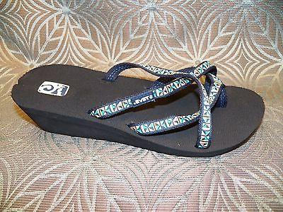 New Womens Teva Mandalyn Wedge Ola Mosaic Blue Sandals Flip