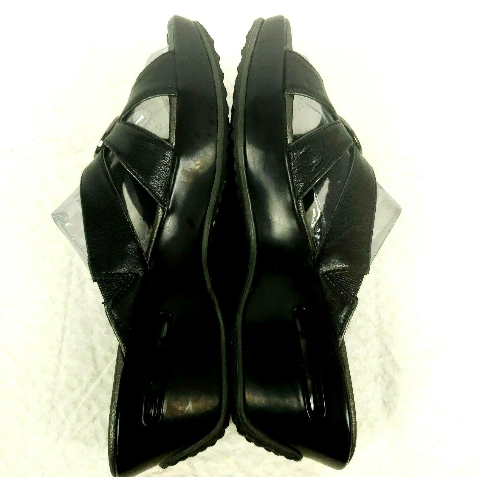 Nike Wedge Sandals Black Silver Accent $110