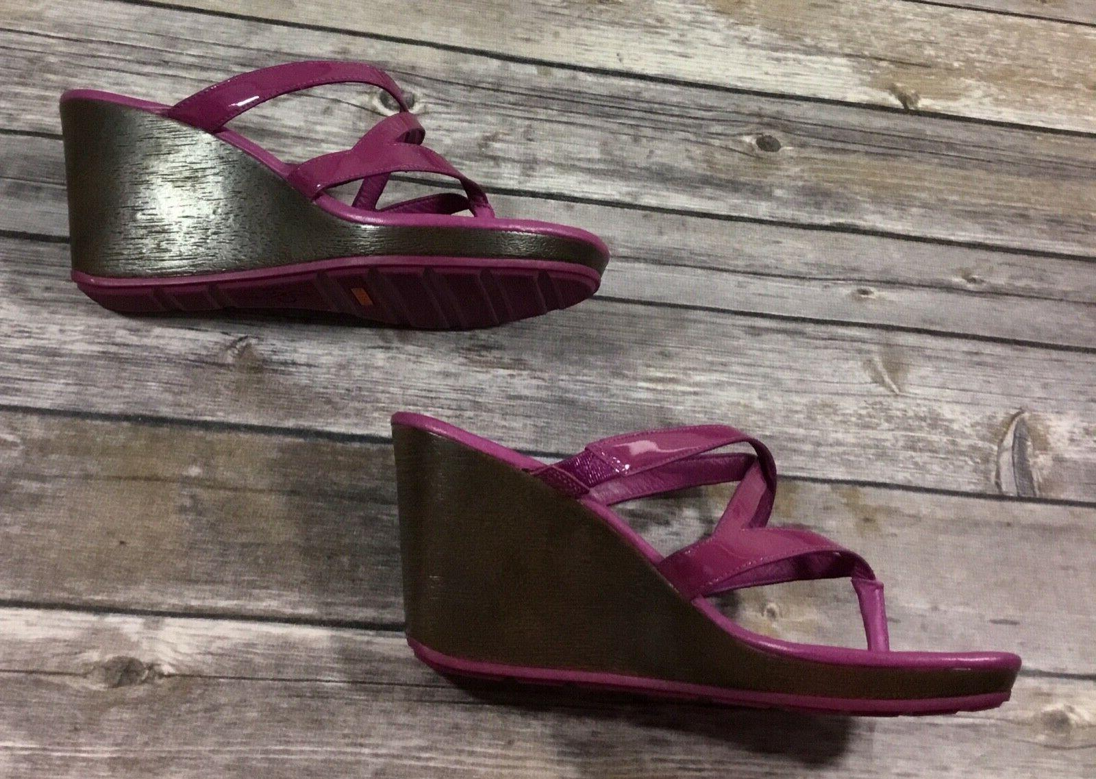 Cole Womens Strappy Wedge Purple Patent Leather Slides