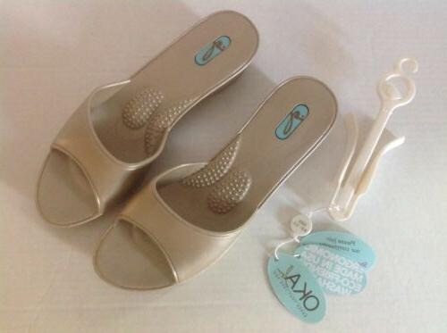 """OKAb 1 3/4"""" Wedge Sandal-Audrey Aged Gold 1 pair available s"""