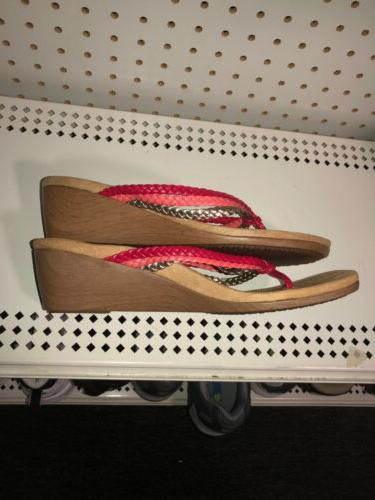 Vionic Orthaheel Womens Wedge Sandals Slides Size 10 Red Pink