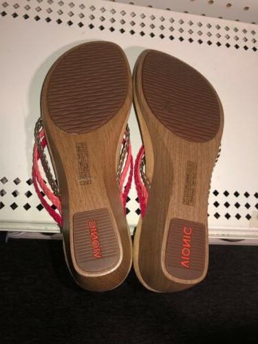 Vionic Ramba Womens Wedge Braided Sandals Size 10 WIDE Pink