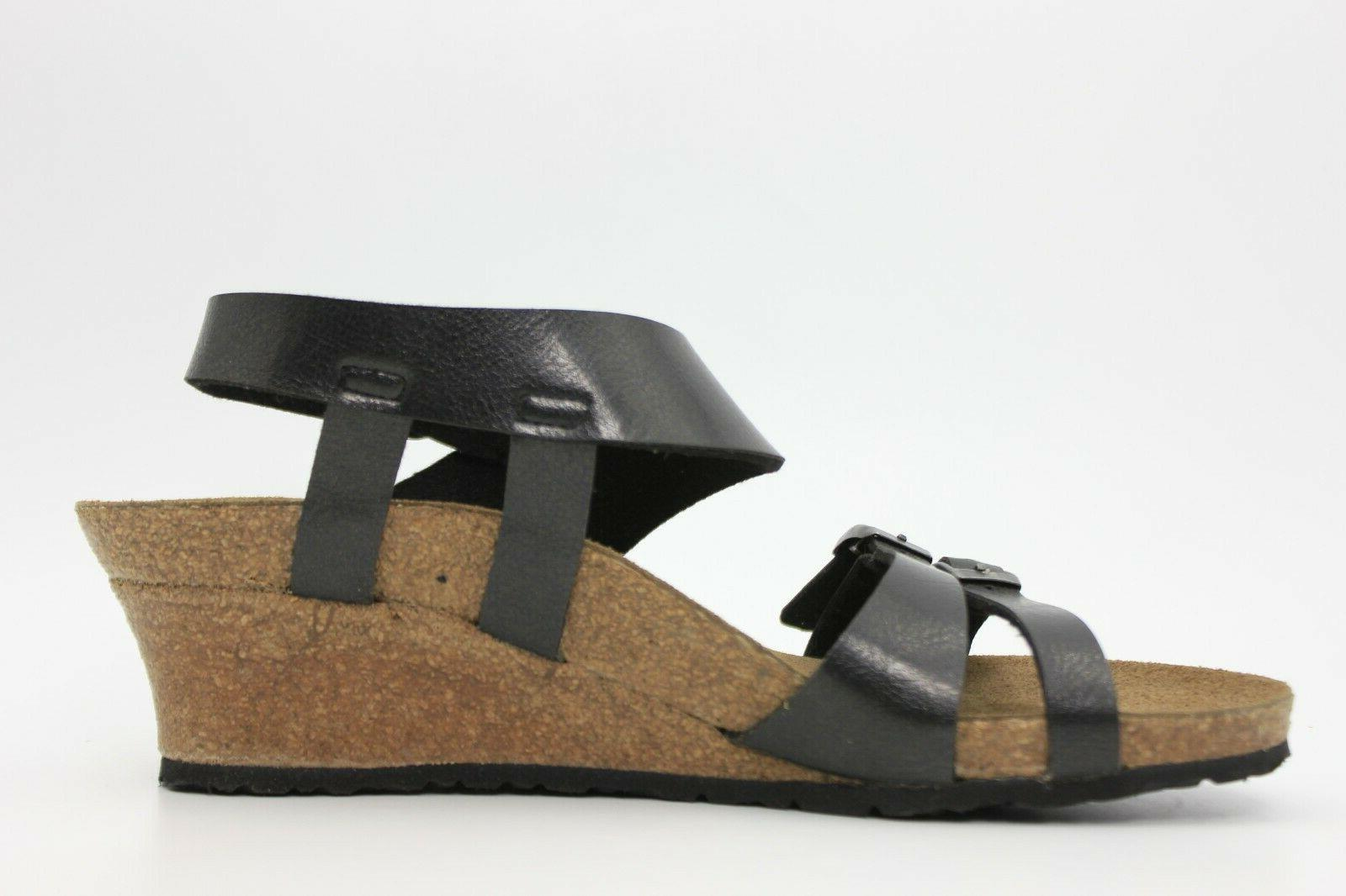 PAPILLIO By Birkenstock Soley leather Wedge Sandals Size NEW