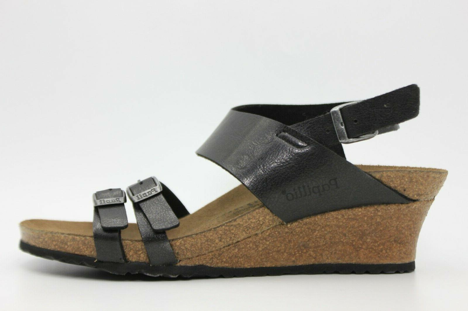 papillio by soley leather wedge sandals black