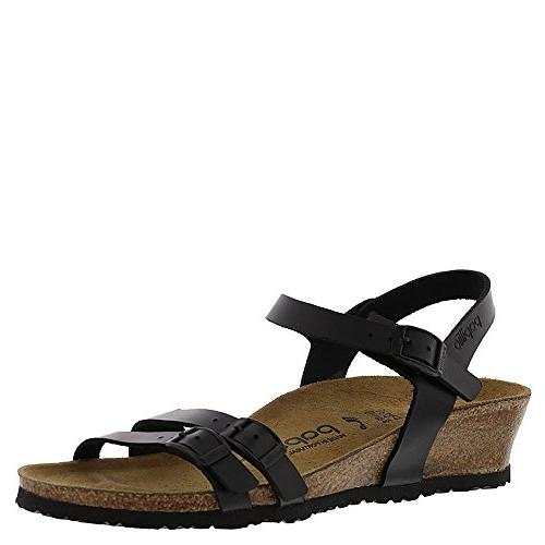 papillio lana black leather sandals