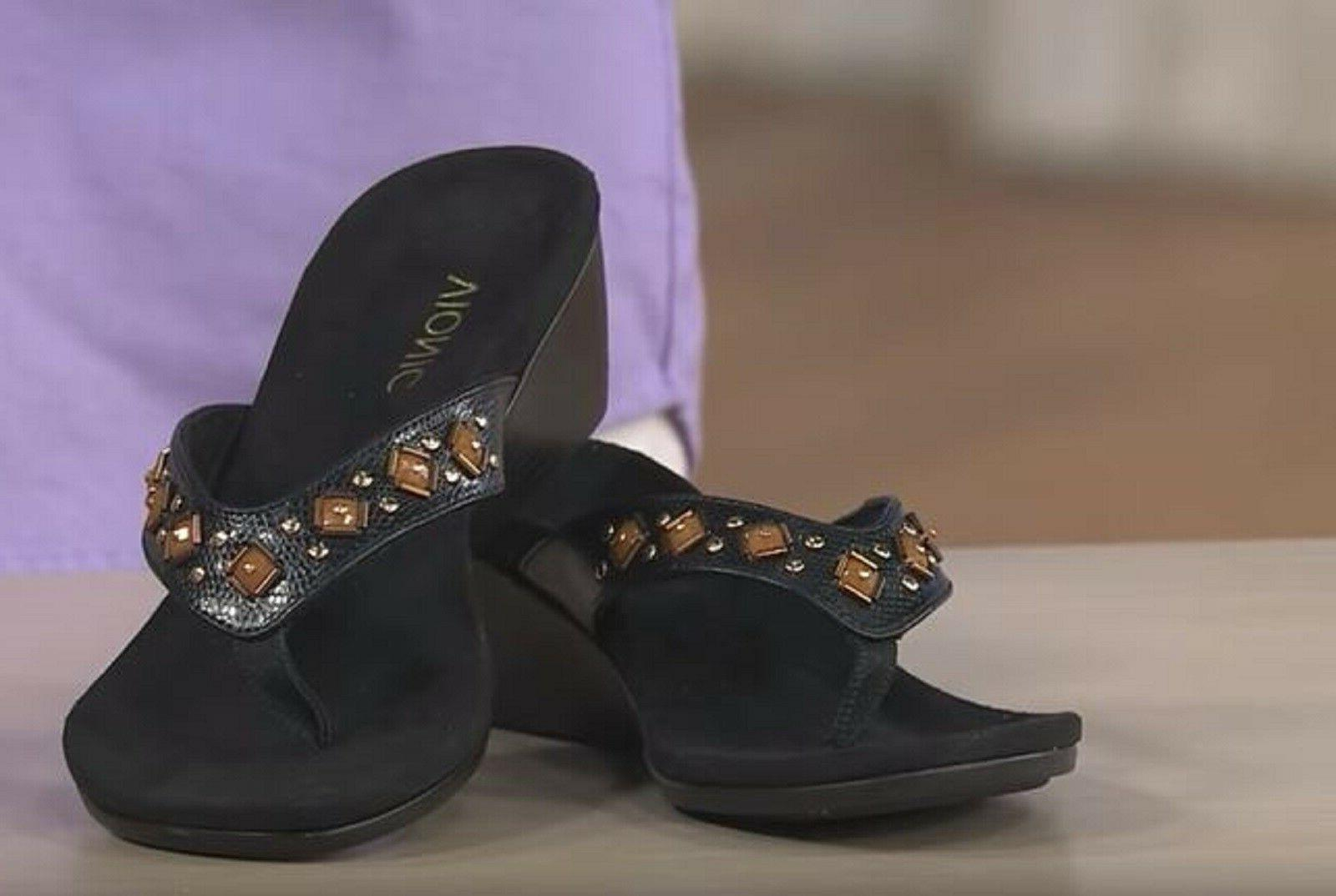 Vionic Orthaheel PARK MARCEAU Embellished Wedge Sandals Size