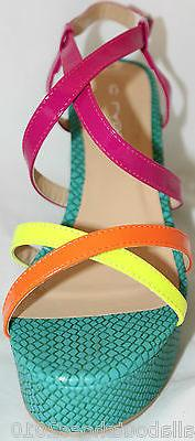 Platform Wedge Strappy Bright Multi Color Neon Yellow Women