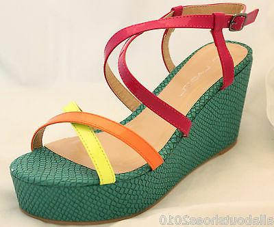 Platform Wedge Sandals Bright Multi Yellow Orange Shoes
