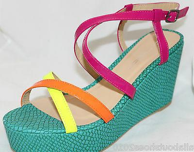 Platform Sandals Strappy Bright Color Yellow Women