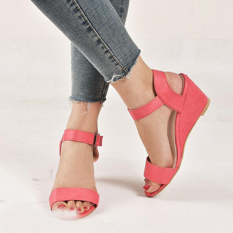 Roman Wedge Low Heels Ankle Strap Buckle Size 5-10