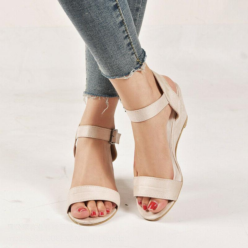 Roman Wedge Sandals Low Ankle Strap Buckle 5-10