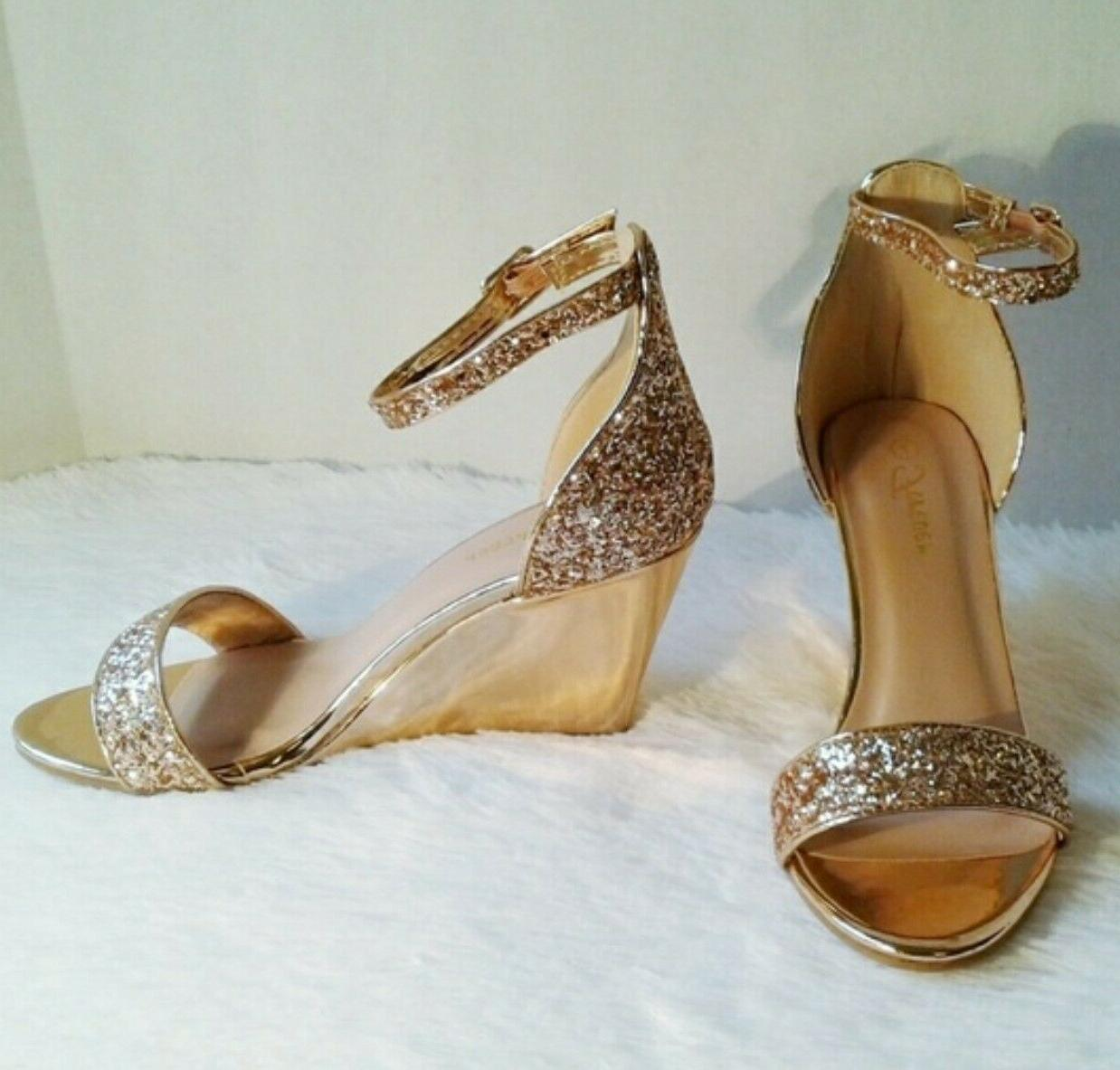 FOREVER GOLD WEDGE SANDALS SIZE 8 NIB