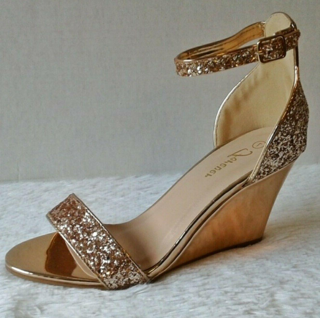 rose gold glitter wedge sandals size 8