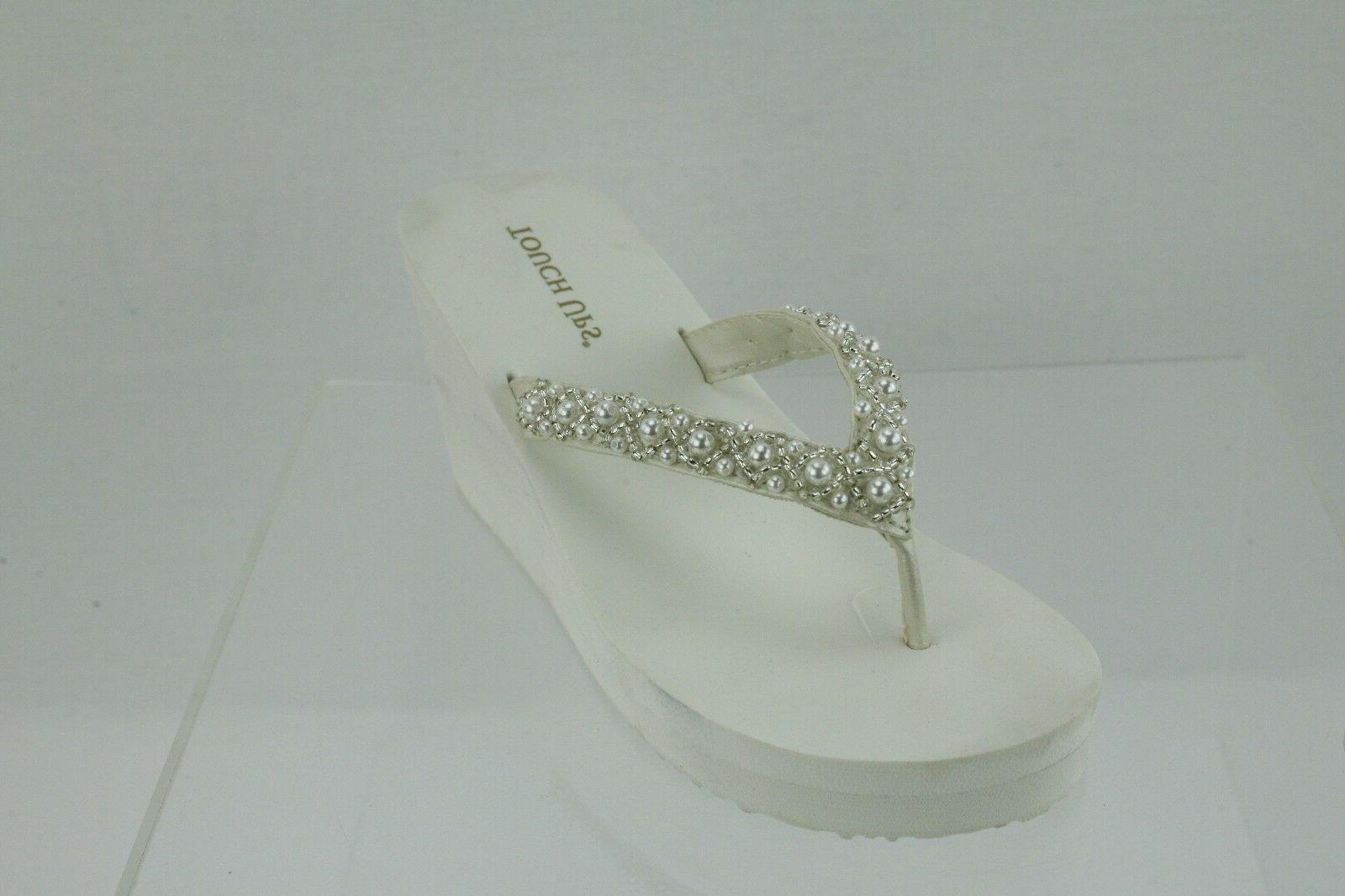 Touch Ups Shelly Wedge Thong Sandals Cushioned Pearls Beads