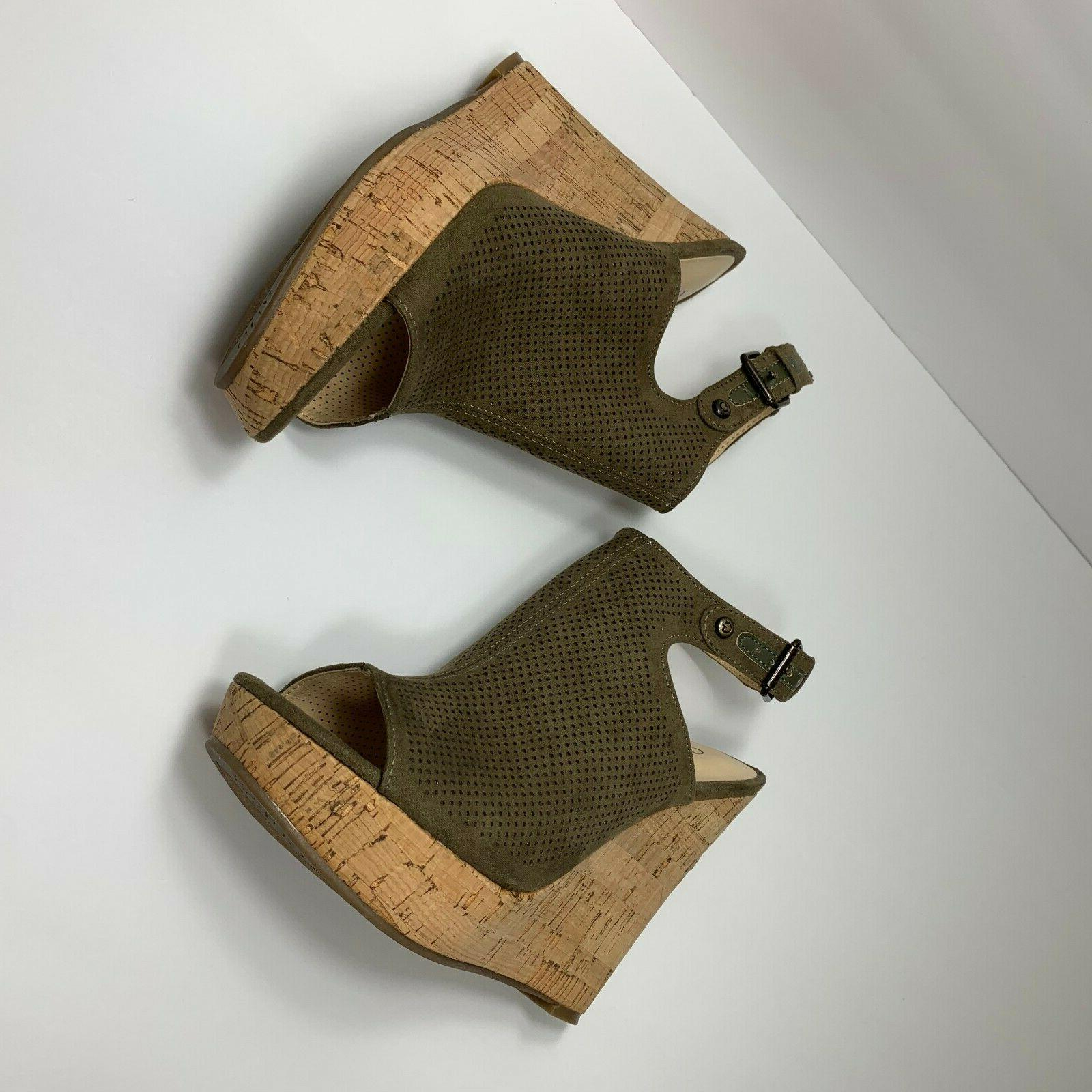 Guess Shoes Wedge Sandals Size 5.5 M Olive Green New