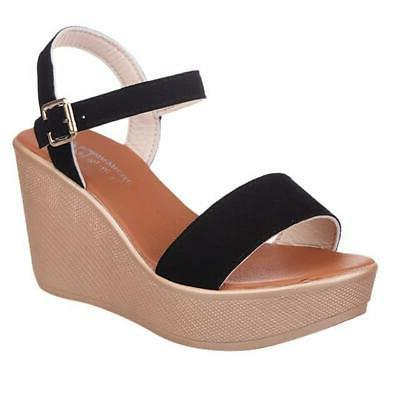 Solid Wedges Shoes Green Toe Sandals Strap