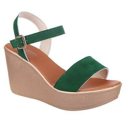 Solid Color Women Wedges Green Peep Toe Sandals Buckle Strap