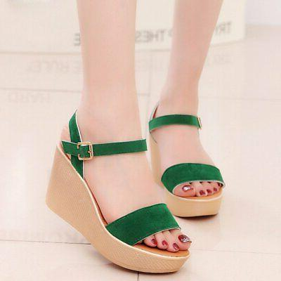 solid color women sandals wedges shoes green