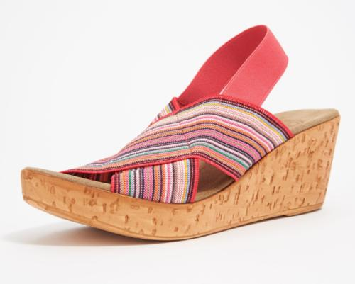 stretch wedge sandals med coral multi new