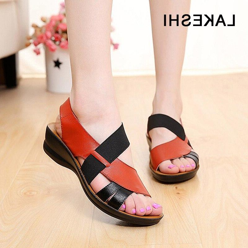 LAKESHI Summer <font><b>Leather</b></font> Women Fashion Soft <font><b>Sandals</b></font> <font><b>Sandals</b></font> Toe Shoes