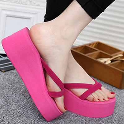 Summer Women Wedge Platform Flip Beach Slippers 3 EL