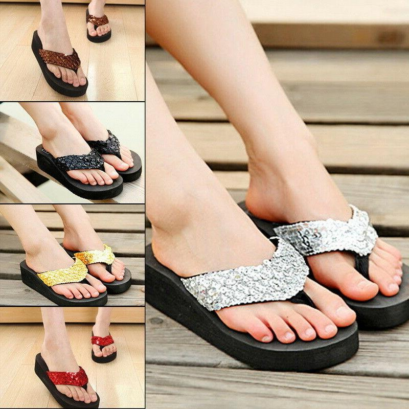 Summer Women Wedge Sandals Sequin Thong Flip Flops Platform
