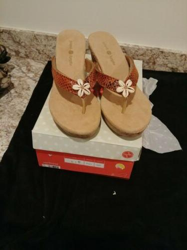 10 Cork Wedge Sandals Leather Tan