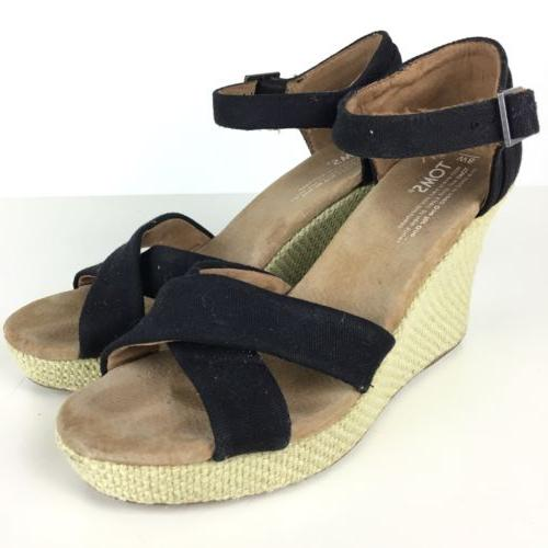 TOMS Black Canvas Platform Wedge Sandals Espadrilles Shoes W