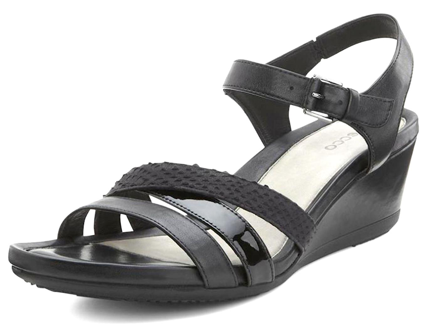 ECCO TOUCH WOMEN'S BLACK WEDGE SANDAL SIZE 41 1173