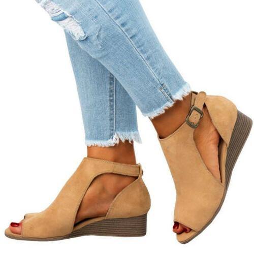 US Women's Suede Wedge Peep Size