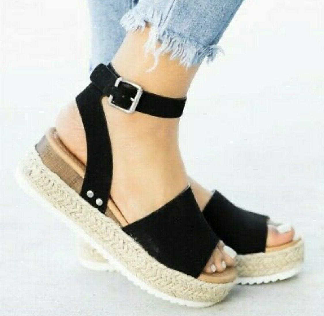 US Open Toe Sandals Ladies Straw Casual Buckle Shoes