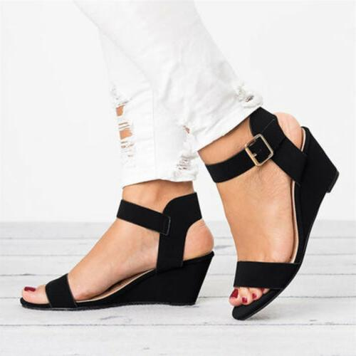 US Wedge Low Heels Ankle Buckle Gladaitor Shoes 5-8.5