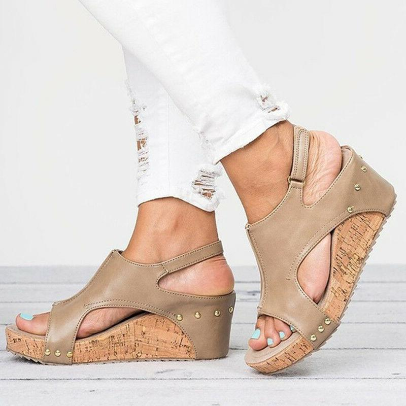 US Women Sandals Platform Heel Slingback Pumps Ladies Summer