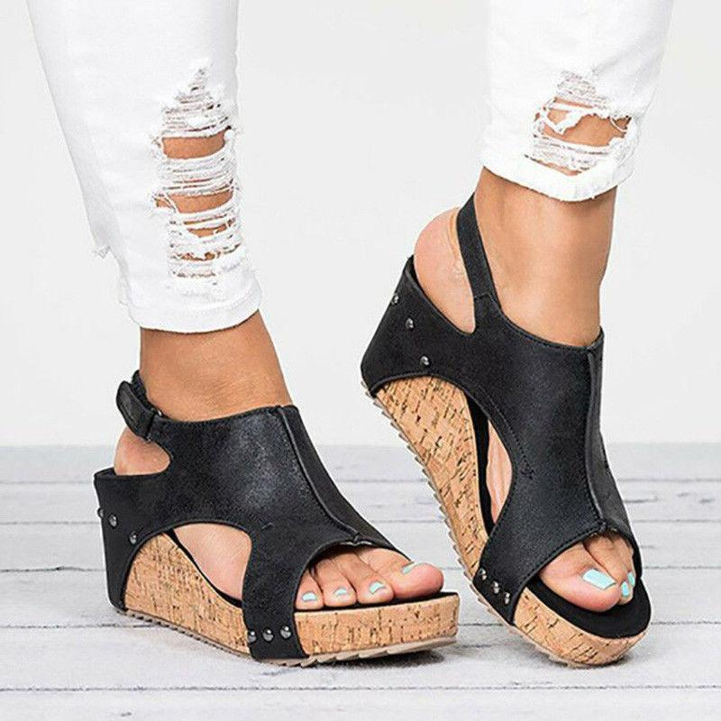 US Sandals Platform Ladies Summer Shoes Buckle
