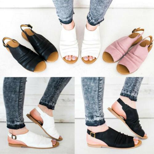 USA Womens Sandals Peep Flops Buckle Wedge Shoes