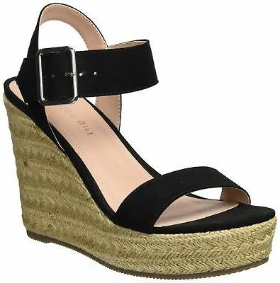 MADDEN GIRL Vail Espadrille Wedge Women  Black Fabric VAIL01