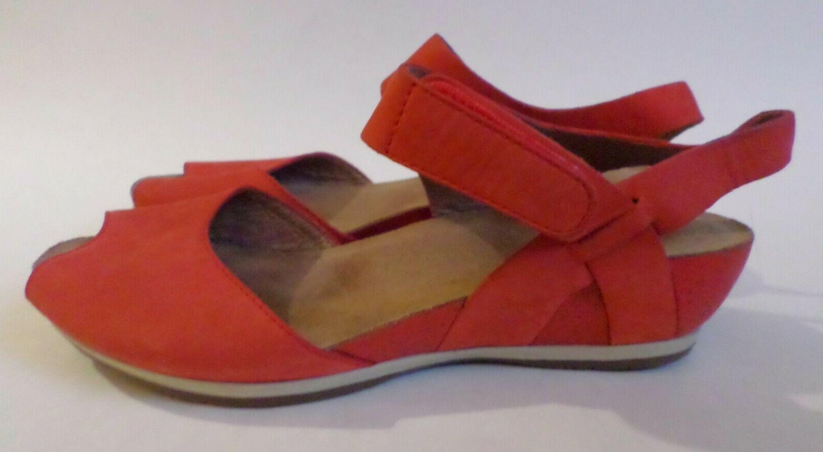 vera cork wedge sandals coral nubuck leather