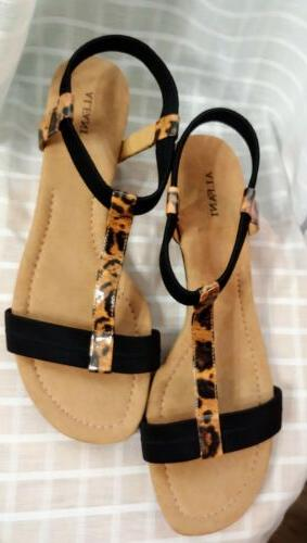 Alfani Voyage Womens Wedge Leopard Sandals Open Toe T Strap