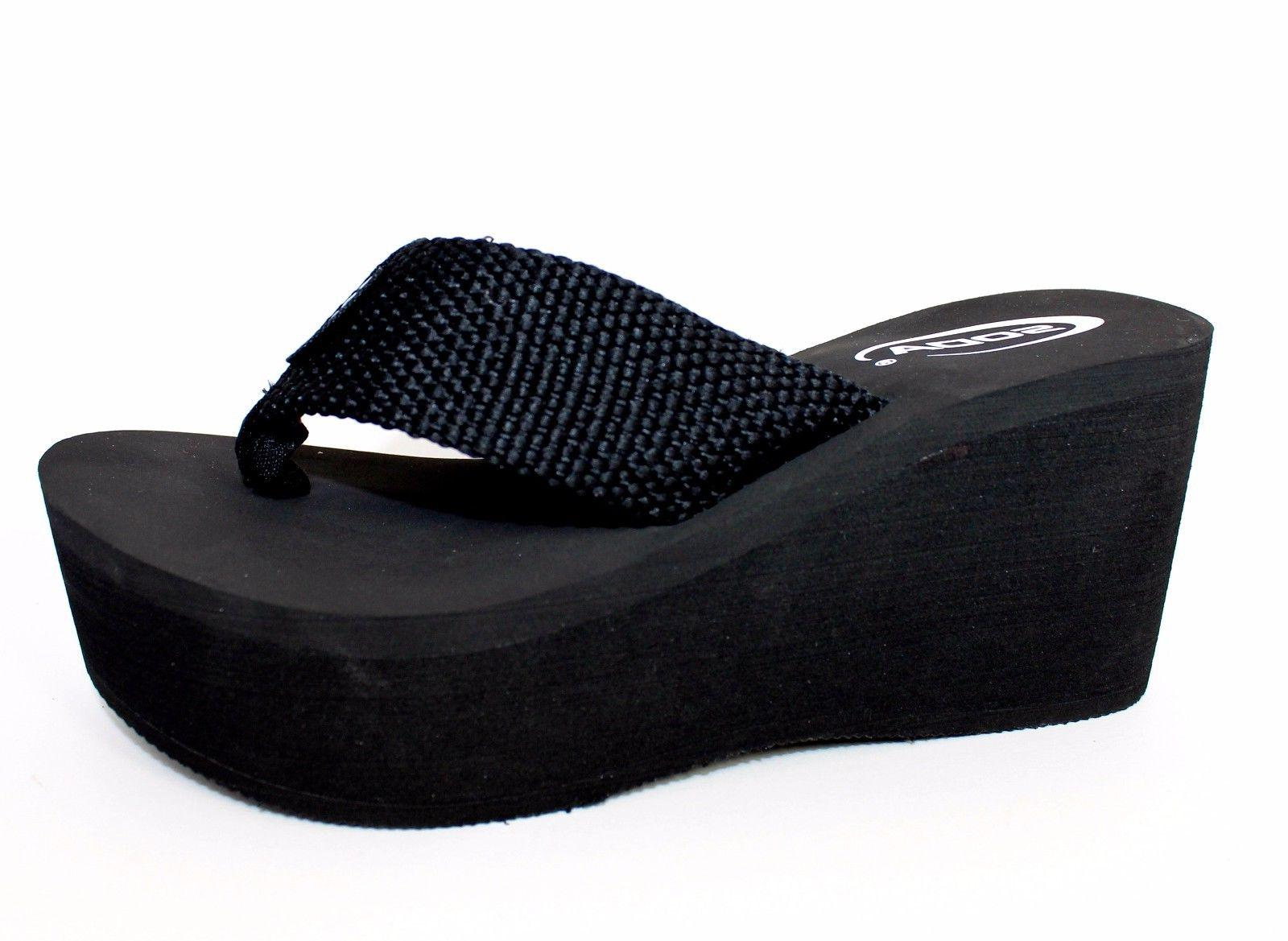 "WEDGE EVA 3"" WEBBING PLATFORM THONG FLIP FLOPS SANDALS SODA"