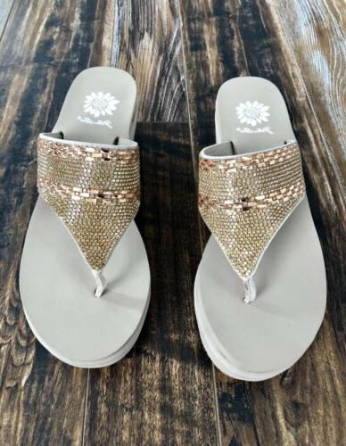 Wedge Flip Sandals Size Box Nude Color With Rhinestones
