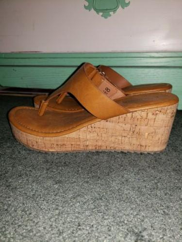 wedge sandals brown size 8 5 thong