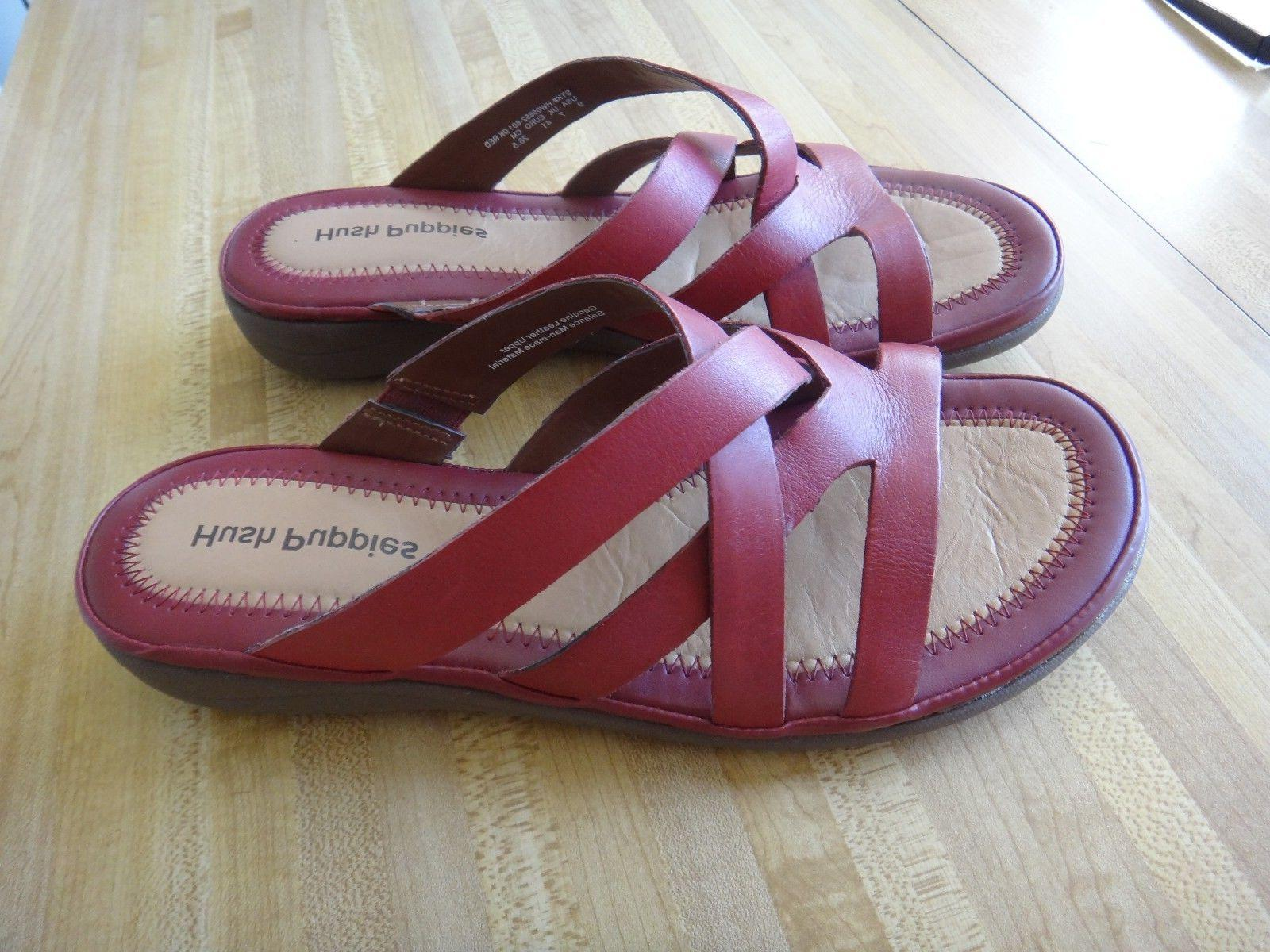 Hush Wedge Sandals Leather sz 9 NEW