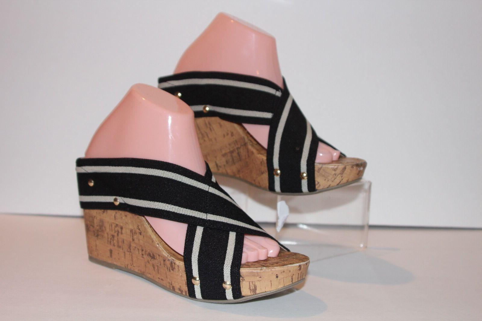 wedge sandals black tan striped wedge cork