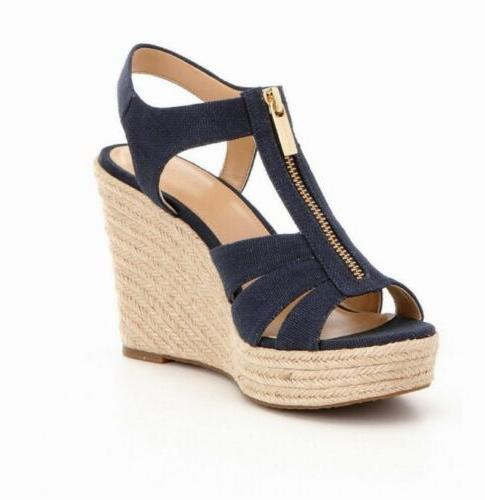 Women MK Michael Kors Berkley Wedge Zip Up Canvas Sandal Nav