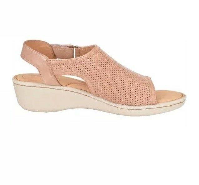 Women Low Wedge Leather Blush