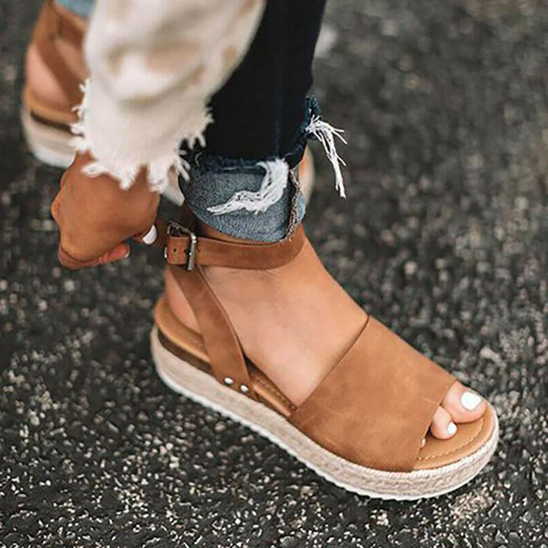 Women Summer Sandals Platform Open Espadrilles Wedge Heels Ankle Shoes