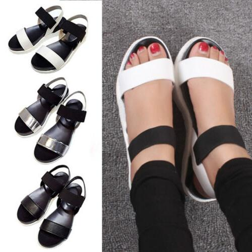 Women Open Toe Ankle Strap Flat Heel Beach Sandals Casual Pl