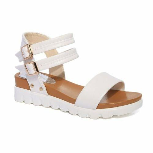 Women Peep Toe Sandals Ladies Strap Buckle