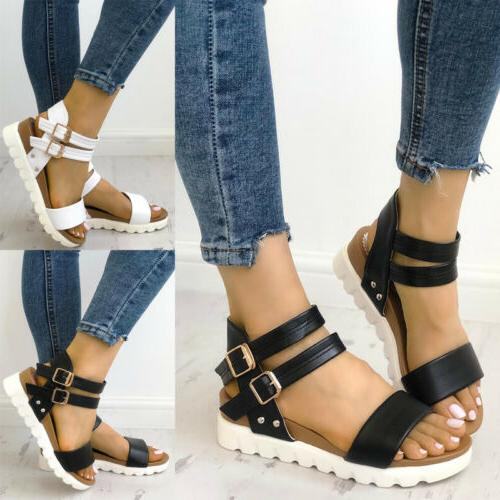 Sandals Ladies Platform Ankle Strap Slingback