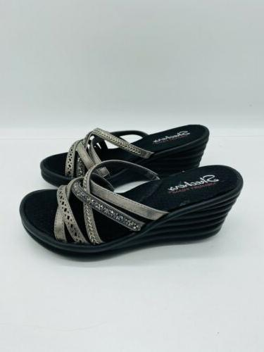 Skechers Rumbler Wave New Multi-Strap Slide Sandals Pewter
